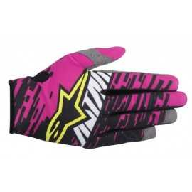 Gants cross Alpinestars racer braap rose noir