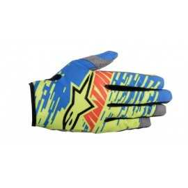 Gants cross Alpinestars racer braap bleu jaune rouge