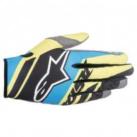 Gants cross Alpinestars racer supermatic noir bleu jaune fluo