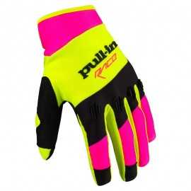 Gants cross Pull-in fighter jaune fluo rose fluo