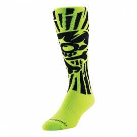Chaussettes Cross Troy lee designs GP Skully jaune fluo