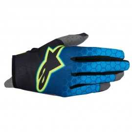 Gants cross Alpinestars radar flight bleu jaune fluo