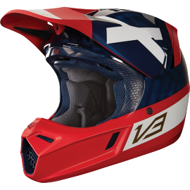 Casque fox cross v3 preest navy rouge