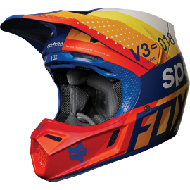 Casque cross Fox v3 draftr bleu