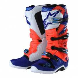 Bottes cross Alpinestars Tech 7 Troy lee designs rouge fluo blanc blanc