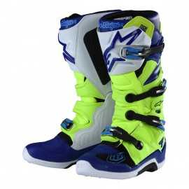 Bottes cross Alpinestars Tech 7 Troy lee designs jaune fluo bleu blanc