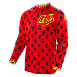 Maillot Troy Lee Designs GP Air Anarchy rouge jaune fluo