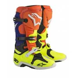 Bottes cross Alpinestars Tech 10 orange fluo bleu blanc jaune fluo