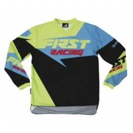 Maillot cross Firstracing data bleu jaune fluo 2017