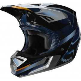 Casque cross Fox V3 Motif blue silver 2019