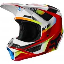 Casque cross Fox V1 Motif red white 2019