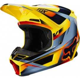 Casque cross Fox V1 Motif yellow 2019