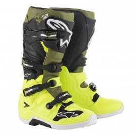 Bottes cross Alpinestars Tech 7 yellow fluo military green black 2019