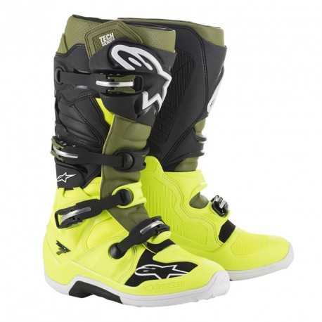Bottes cross Alpinestars Tech 7 yellow fluo military green black 2020