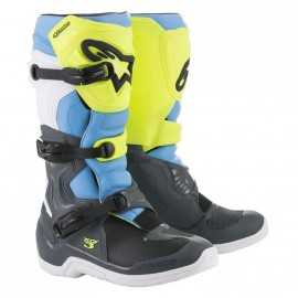 Bottes cross Alpinestars Tech 3 Cool gray yellow fluo cyan 2019