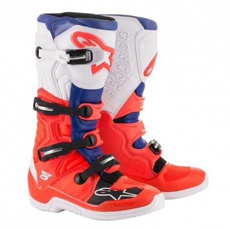 Bottes cross Alpinestars Tech 5 red fluo blue white 2020