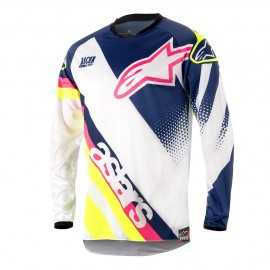 Maillot Alpinestars Racer Supermatic white dark blue yellow fluo