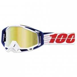 Masque 100% Racecraft Bibal White écran or miroir