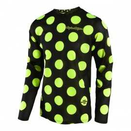 Maillot Troy lee designs GP Air Polka Dot noir jaune fluo