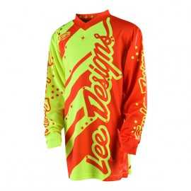 Maillot Troy lee designs GP Enfant Shadow jaune fluo orange fluo