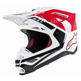 Casque cross Alpinestars Supertech S-M8 Triple red white glossy 2019