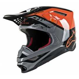 Casque cross Alpinestars Supertech S-M8 Triple orange mid gray black glossy 2019