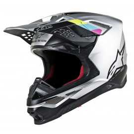 Casque cross Alpinestars Supertech S-M8 Contact silver black 2019