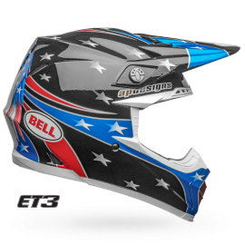 Casque cross Bell Moto-9 Mips Eli Tomac Replica Eagle brillant noir bleu 2019