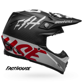 Casque cross Bell Moto-9 Carbon Flex Fasthouse WRWF matte gloss black white red 2019