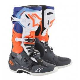 Bottes cross Alpinestars Tech 10 Orange fluo bleu blanc 2019
