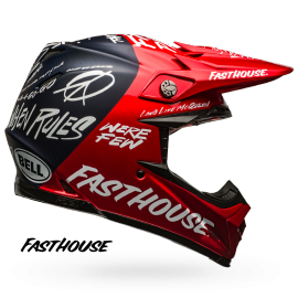 Casque cross Bell Moto-9 Carbon Flex Fasthouse DITD red navy 2019