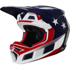 Casque cross Fox V3 Prey white red blue 2020