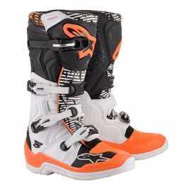Bottes cross Alpinestars Tech 5 blanc noir orange fluo