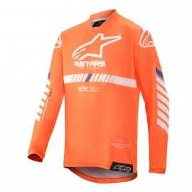 Maillot Alpinestars enfant Racer Tech orange fluo blanc bleu 2020