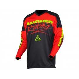Maillot Cross Answer Syncron Pro Glow rouge noir jaune fluo 2020