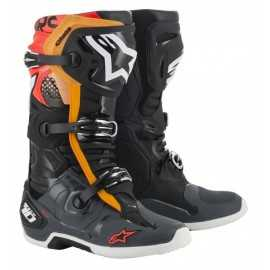 Bottes cross Alpinestars Tech 10 noir gris orange rouge fluo 2020