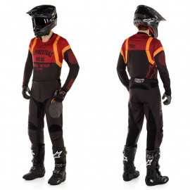 Tenue Alpinestars Racer Tech Flagship noir bordeaux orange 2020