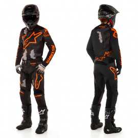 Tenue Alpinestars Racer Tactical noir gris camo orange fluo 2020