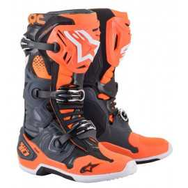 Bottes cross Alpinestars Tech 10 gris orange fluo 2021